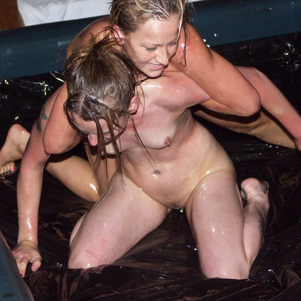 Naked girls oil wrestling